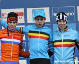 The U23 podium (L-R): Mathieu van der Poel, 2nd; Wout van Aert, 1st; Laurens Sweeck, 3rd. © Bart Hazen / Cyclocross Magazine