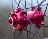 Reynolds Cycling' 29 XC Carbon tubeless wheels have flashy red hubs that take 6-bolt rotors and straight pull spokes. Winter Press Camp 2014. © Cyclocross Magazine