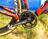 Specialized's carbon crankset on their OSBB bottom bracket, Shimano M970 XTR pedals and a non-Yaw SRAM Force front deraileur badged as Red. © Thomas van Bracht / Cyclocross Magazine