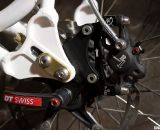 The custom-built Rock Lobster featured sliding rear dropouts and disc brake tabs. Summit Lab's 324 Brake Adapter. © Cylcocross Magazine