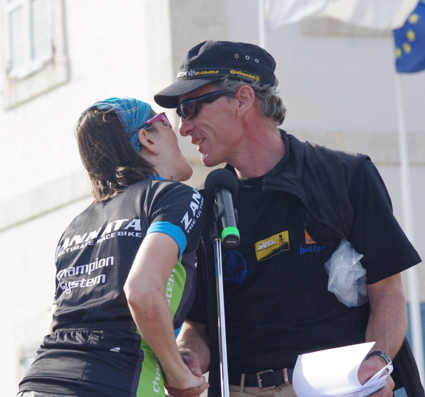 Christine collecting kisses from Thomas Wegm?ller. ? Jonas Bruffaerts