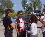 Het Netherlands team - 2nd place finisher of stage 4 Rodrick De Munnik being interviewed. ? Jonas Bruffaerts