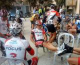 Riders relax before the start. ? Phil Saussus