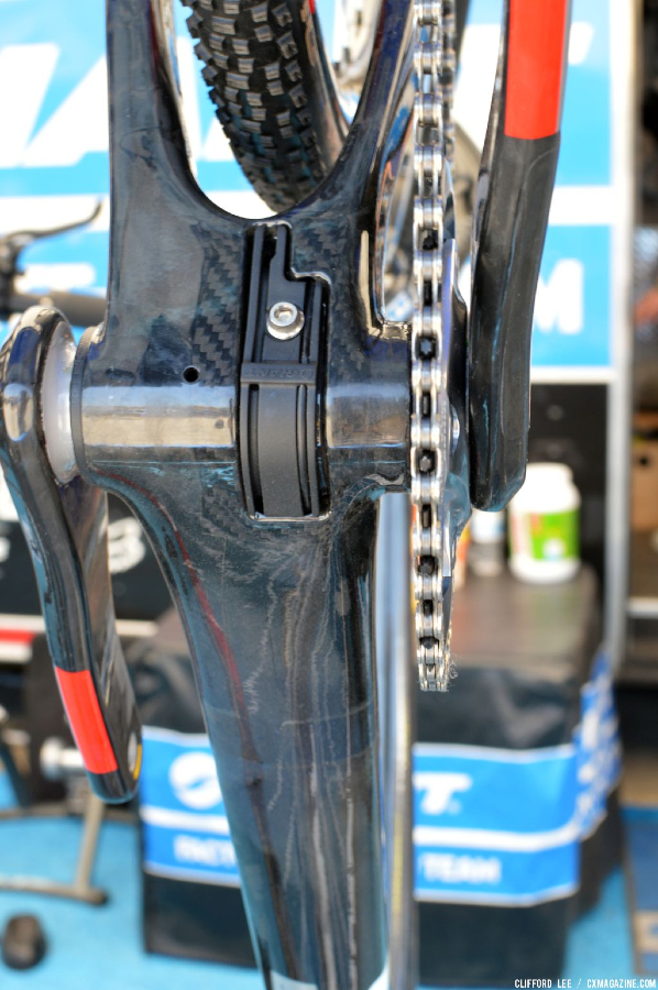 Careful observation reveals FD cable and wire ports. Shows good mud clearance behind the BB on Adam Craig's Prototype Giant TCX Advanced - Sea Otter 2013. © Clifford Lee