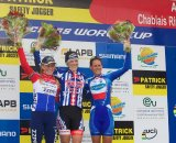 Elite women's podium, Aigle World Cup © Mark Legg-Compton