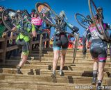 Elite women run the stairs at the 2014 USAC Cyclocross National Championships.