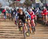 Crystal Anthony (5) leads out the elite women's field at the 2014 USAC Cyclocross National Championships.  Crystal finished 4th overall.