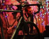 Jeff Frane, the brand manager and mastermind behind All-City Cycles, multi-tasking with DJing and showing off the new cyclocross bikes. © Cyclocross Magazine