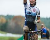 Morrison celebrating her first UCI podium. © Todd Prekaski