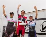 The Elite Women's podium on day one of Downeast Cyclocross Weekend: Morrison, Barensfeld, Anthony. © Todd Prekaski