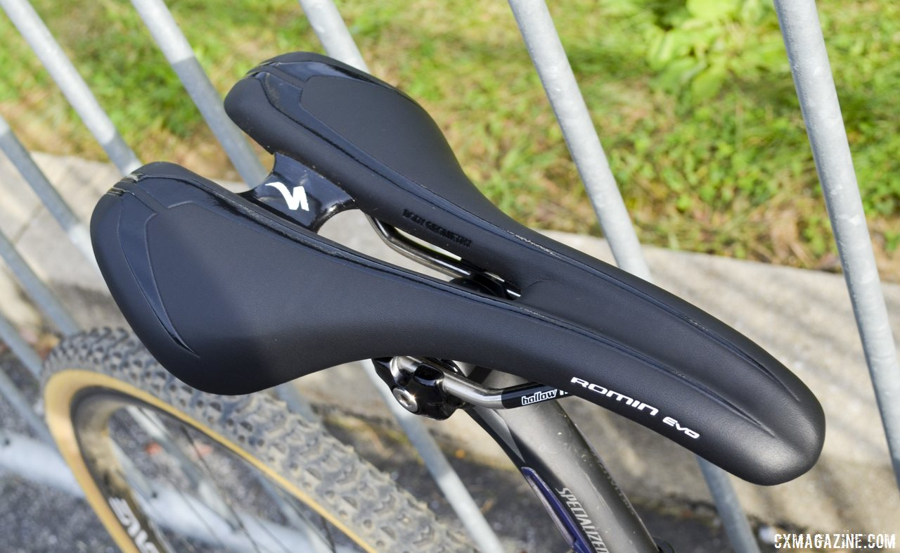 Specialized Romin\'s EVO saddle on Arley Kemmerer\'s Specialized Crux Pro cyclocross bike. © Cyclocross Magazine