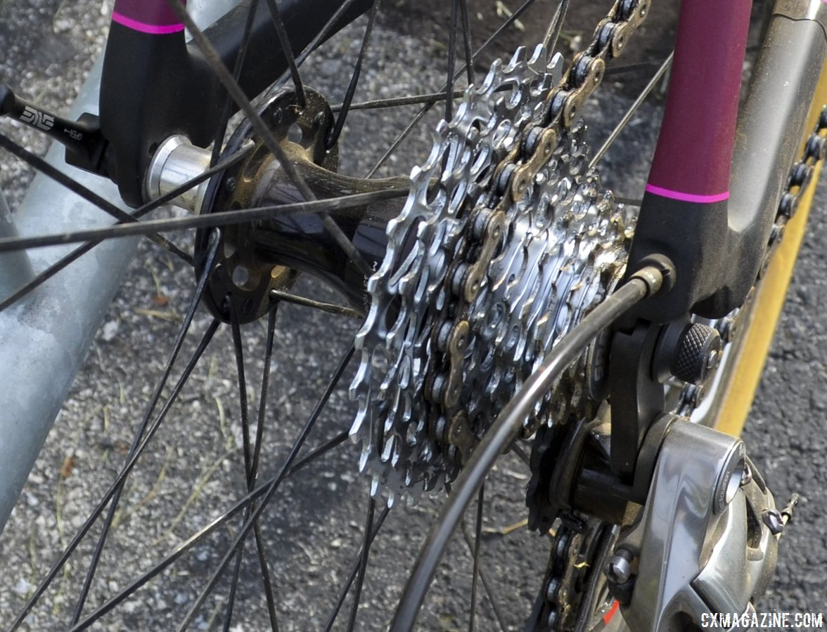 SRAM Red 10 speeds, not 11. Arley Kemmerer\'s Specialized Crux Pro cyclocross bike. © Cyclocross Magazine