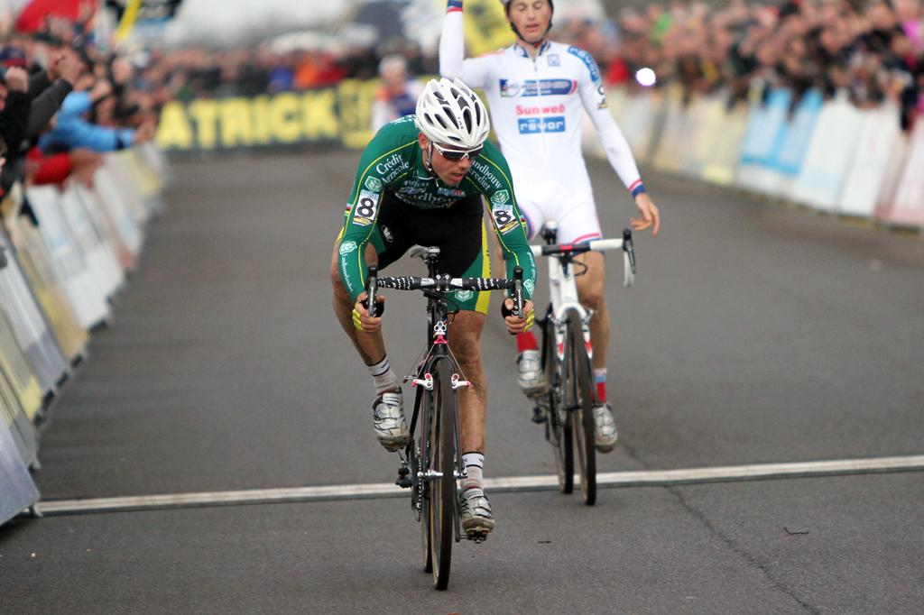 Pauwels makes his frustration clear as Nys crosses the line for the win. © Bart Hazen