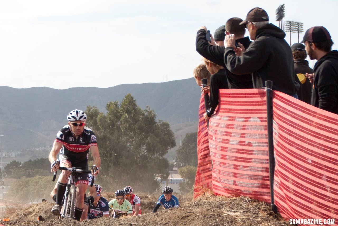 Murray Swanson gets the holeshot to lead the Masters A field up the bump before the finish. © Cyclocross Magazine