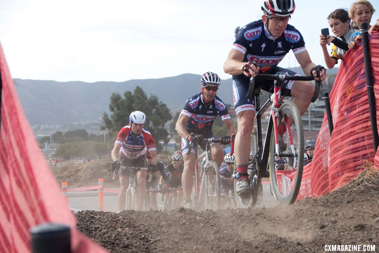 Eric Bustos, Henry Kramer, and Jim Gentes lead the Masters 45+ group.  © Cyclocross Magazine