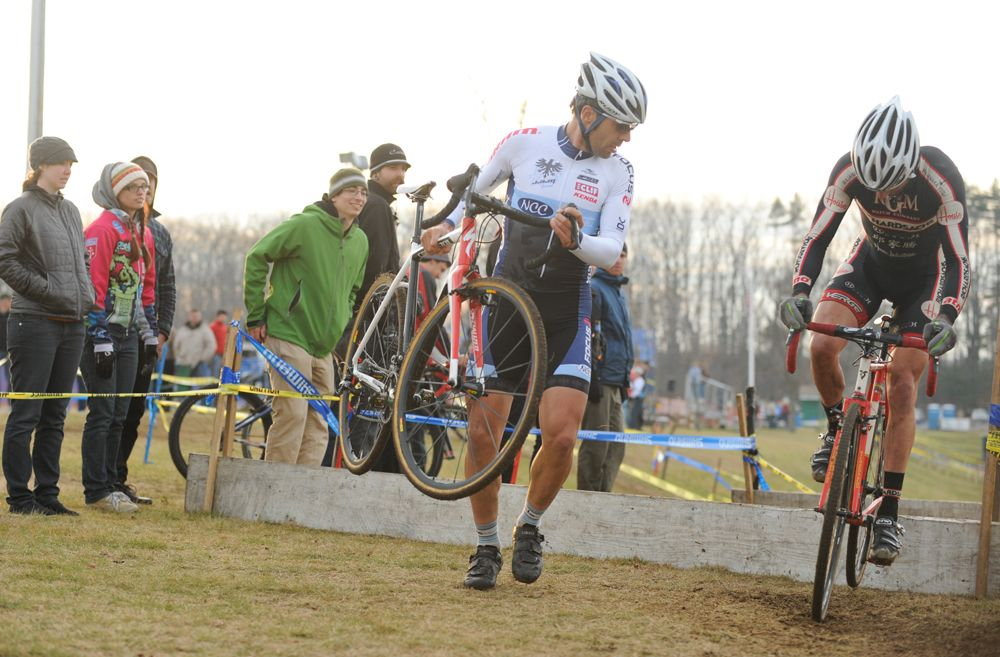 Al Donohue watches as Christian Favata hops the barriers © Natalia Boltukhova | Pedal Power Photography | 2011