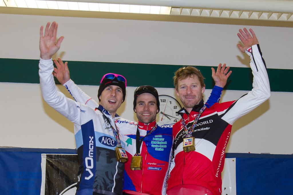 The 2012 Verge New England Cyclocross Series overall podium: Durrin, Lindine, Milne. © Todd Prekaski
