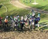 Elite women take the run-up. Baystate Cyclocross, Day 1. ? Paul Weiss
