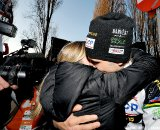 Niels Albert celebrates with his wife as he win the men elite 2011 Belgian Championship cyclo cross race in Antwerpen. Niels Albert is the 2011 Belgian Champion. Sunday Jan. 9, 2010. ( SPRIMONT PRESS / Laurent Dubrule )