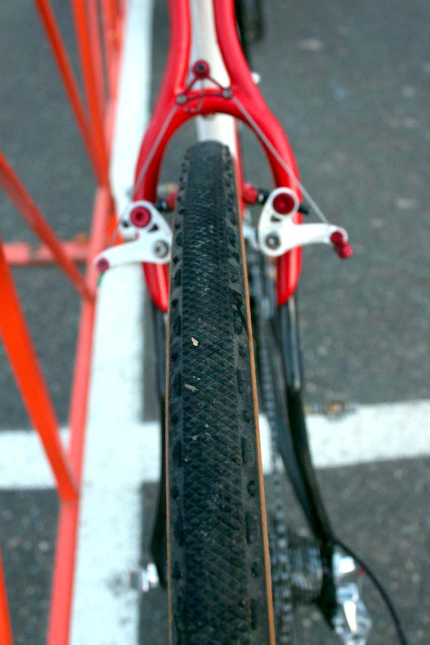Wells was running a Grifo XS file tread in the rear. ? Cyclocross Magazine