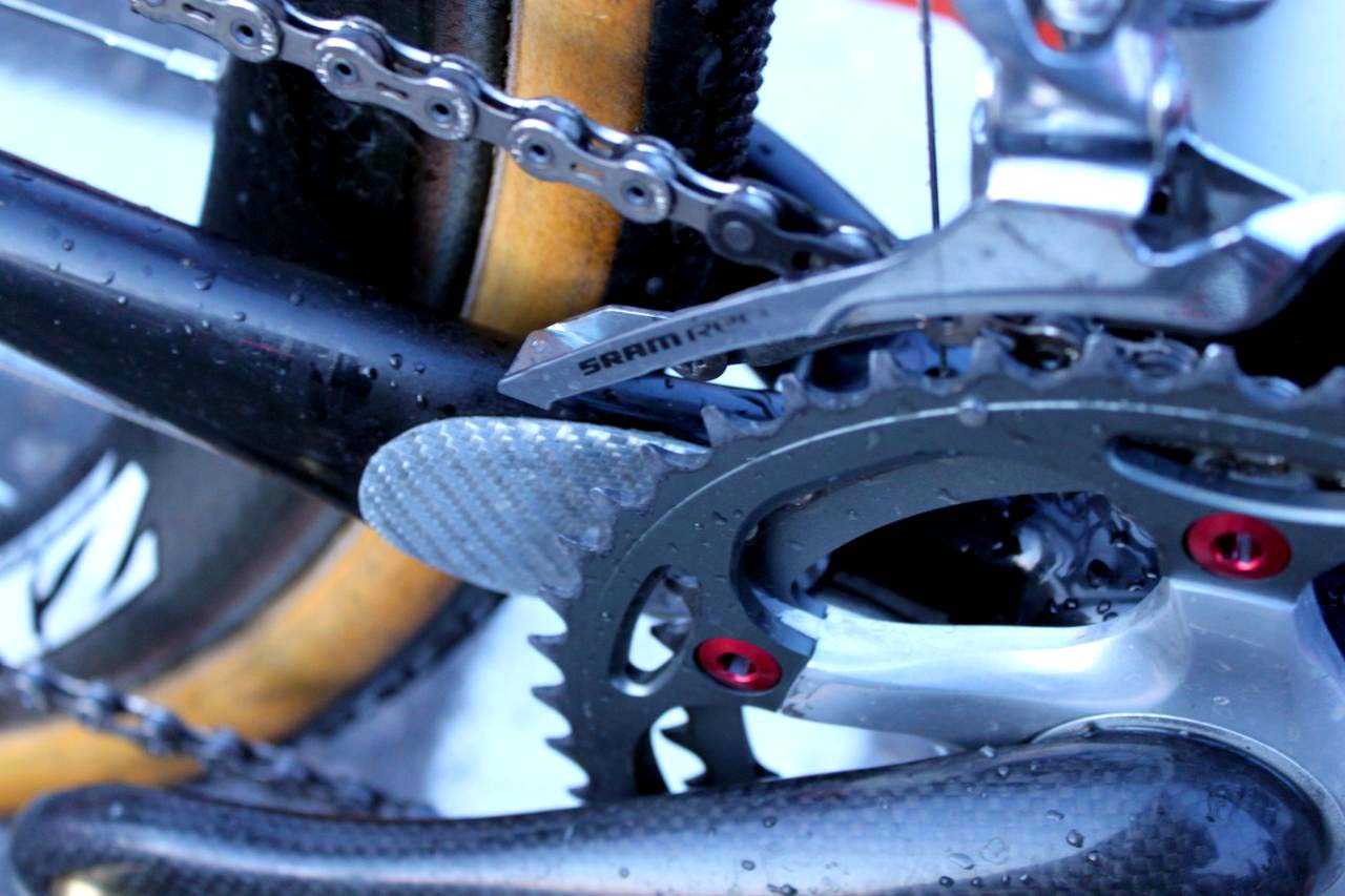 Wells\' uses a Red front derailleur to keep the chain in line. ? Cyclocross Magazine