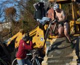 Heading to the finish, winning in the almost nude, at Bilenky Junkyard Cross. © Cyclocross Magazine