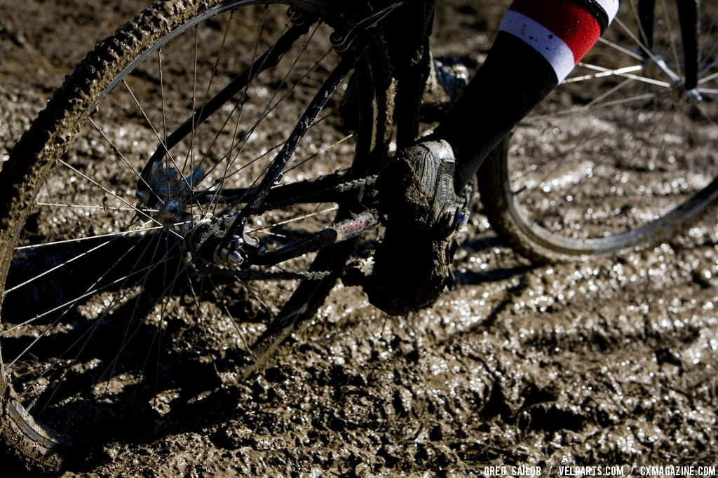 The mud sucked plenty of riders wheels during the day.  © Greg Sailor - VeloArts.com