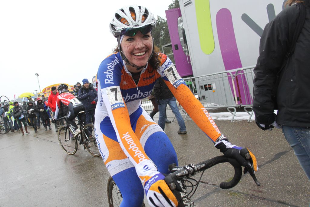 A happy Sabrina Stultiens after the race © Bart Hazen