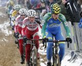 Thijs Al leads a string of riders, beginnning with Jim Aernouts and Kevin Pauwels © Bart Hazen