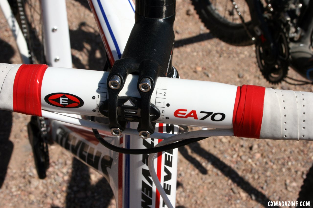 Brady opts for the alloy stem with Easton\'s EA70 bar and EA90 stem.  © Cyclocross Magazine
