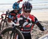 Brent Prenzlow leads John Bailey up the beach at Storm the Beach CX. ? Richard Murphy