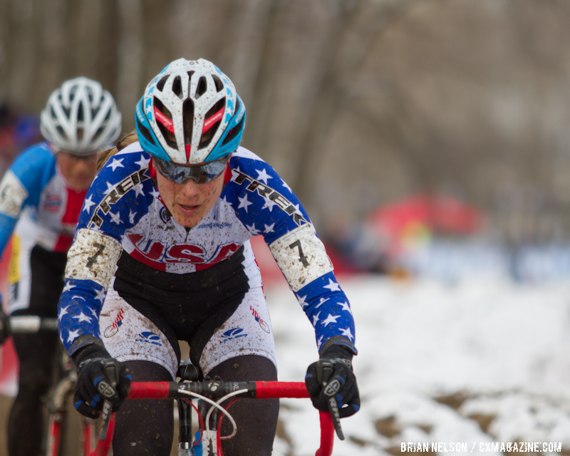 Katie Compton charges at the Elite World Championships of Cyclocross 2013. © Brian Nelson