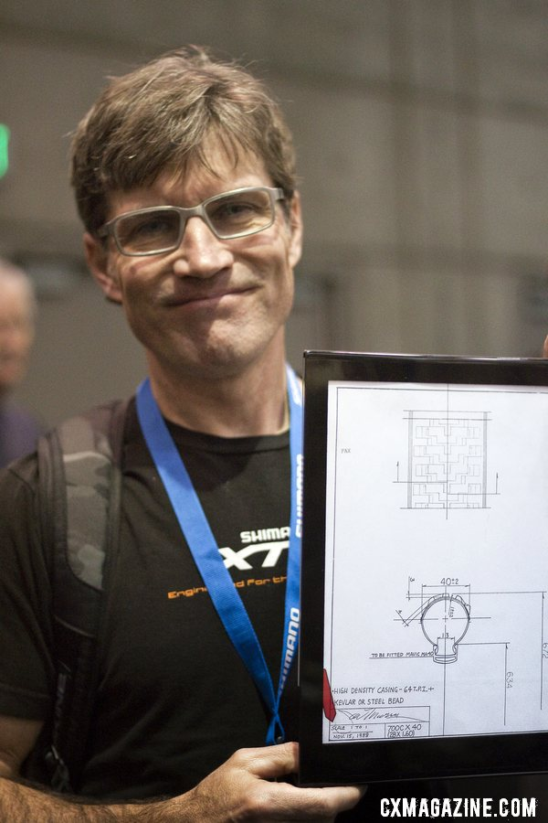 Mountain bike legend Joe Murray shows off his original Rock \'n Road 700x40c tire drawing. Bruce Gordon Cycles ©Cyclocross Magazine