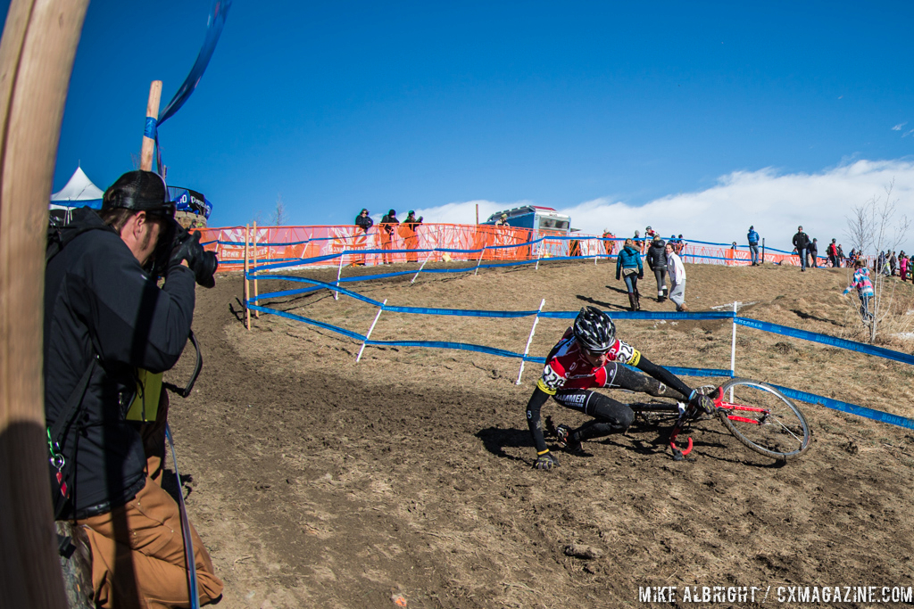 The off-camber was treacherous in the 13-14 race at 2014 USA Cycling National Championships. © Mike Albright