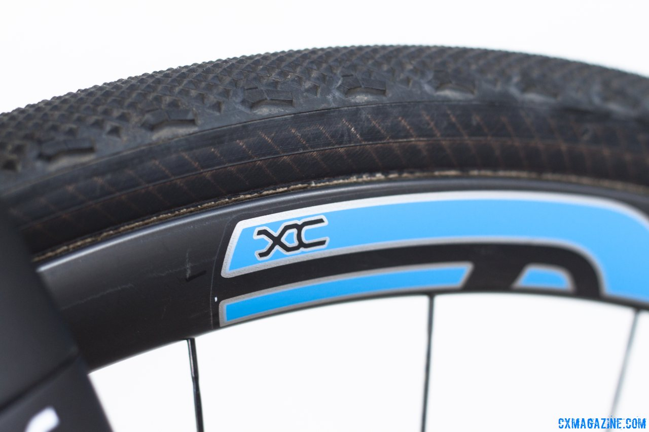 We rode Calfee Design\'s Manta CX Prototype on these ENVE XC 29er tubular rims and Clement LAS tubular tires. The wider, shallow rim provides a stable ride and a huge gluing surface. © Cyclocross Magazine