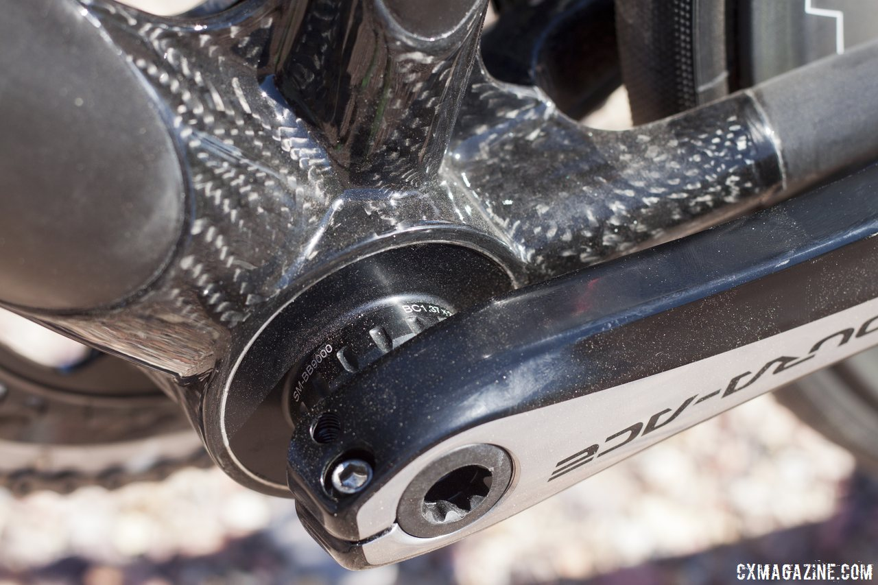 Calfee's new Manta softtail suspension platform for road and cyclocross bikes features Look's massive bottom bracket shell, but adapters are available for