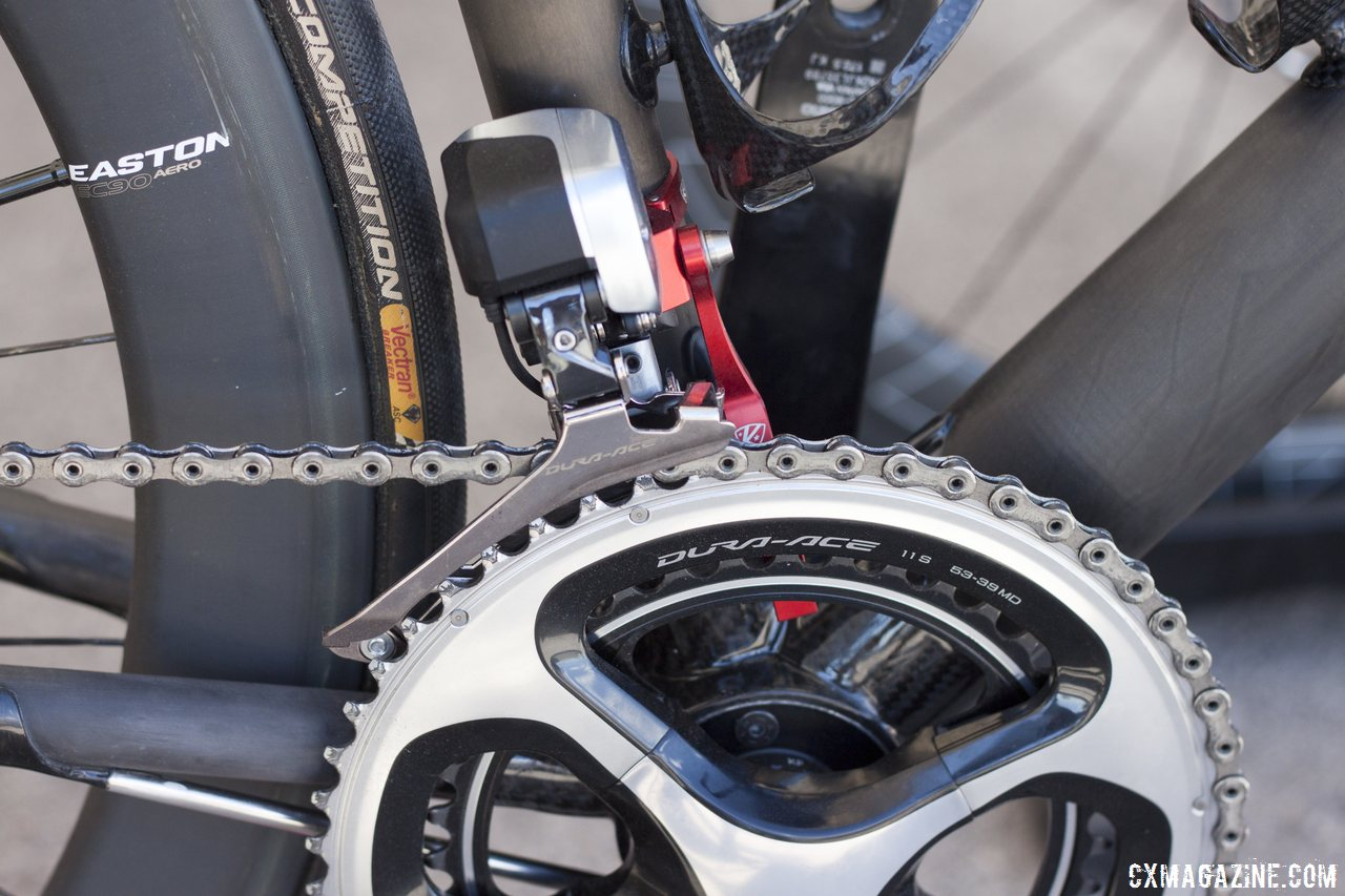 Dura-Ace 9070 Di2 on Calfee's new Manta softtail suspension display road bike. © Cyclocross Magazine