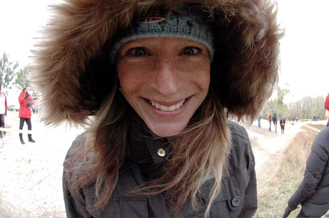 4 time Canadian Cross Champ Wendy Simms in full and warm spectator/fan mode.