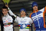 U23 podium at Cauberg Cyclocross. © Bart Hazen