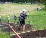 Molly Hurford on the stairs.  © Cyclocross Magazine