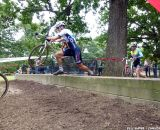 Jeremy Durran was leading the chase group of four riders. Field takes the natural barriers. © Cyclocross Magazine
