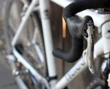 Campy shifters mated to a Rapid Rise Shimano derailleur: A CXM specialty! ©Cyclocross Magazine