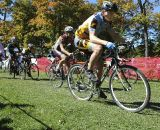 Junior riders roll down the straightaway at the Chicago Cross Cup at Hopkins Park in Dekalb Illinois.  ©  Aaron Johnson