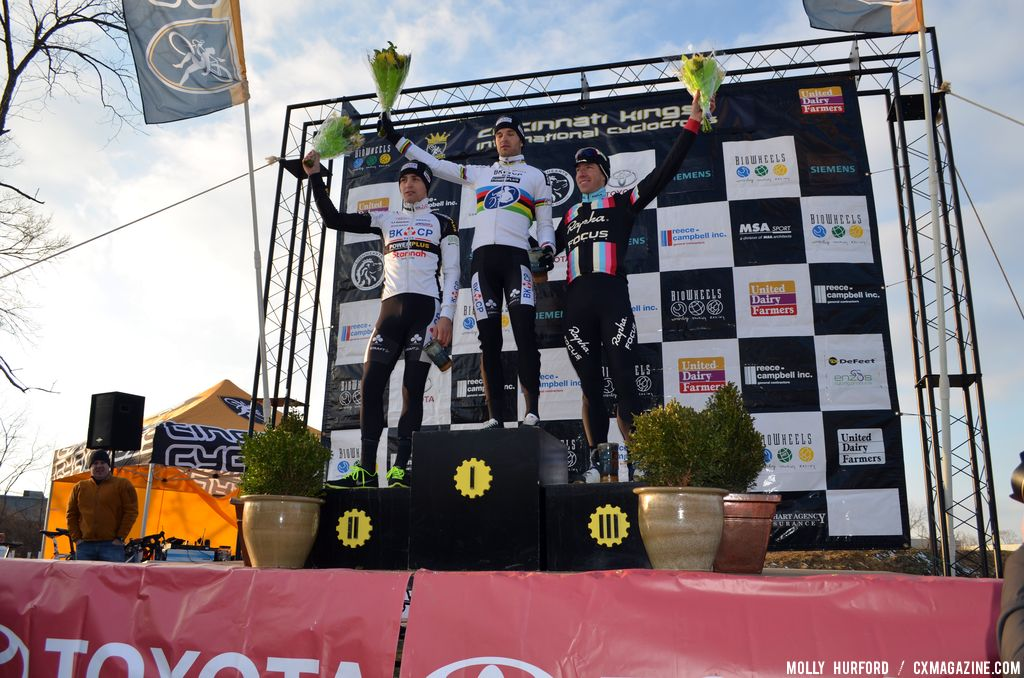 Men\'s podium at Cincinnati Kings International Cyclocross. © Cyclocross Magazine