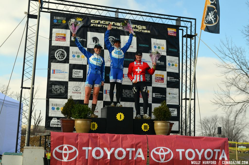 Women\'s podium at Cincinnati Kings International Cyclocross. © Cyclocross Magazine