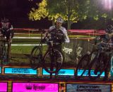 Men hit the barriers at Kings CX After Dark.