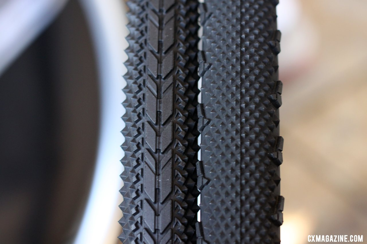 Left: the USH 35c dirt road clincher, Right: the 33c LAS cyclocross clincher. © Cyclocross Magazine