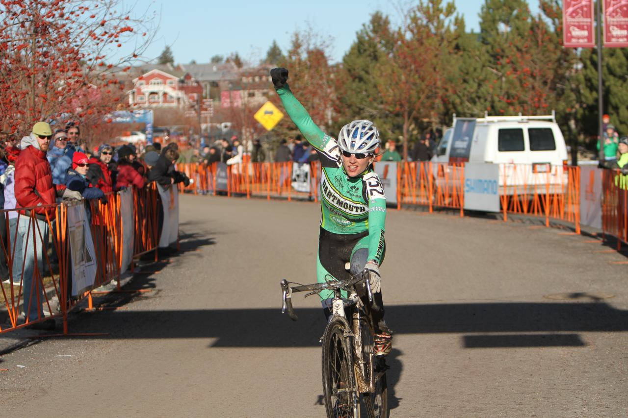 Arielle Filiberti from Dartmouth wins the D2 Collegiate Women Cyclocross National Championships. ? Janet Hill