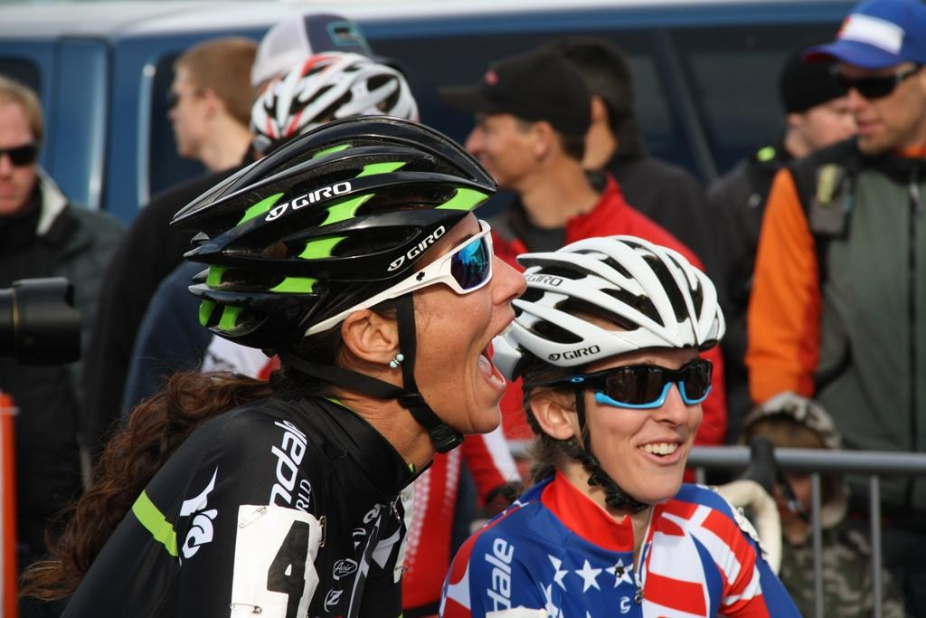 Local favorite Nicole Duke having a laugh on the starting line. © P Guerra