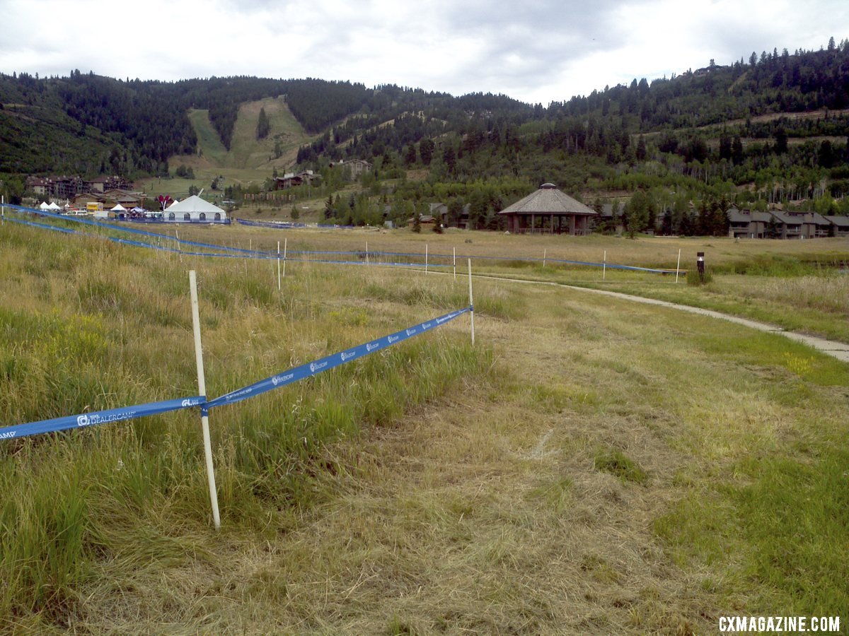 The bumpy, grassy lower section of the course will favor a powerful rider.  © Cyclocross Magazine